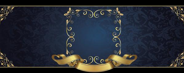 Eticchetta blu ricamata
