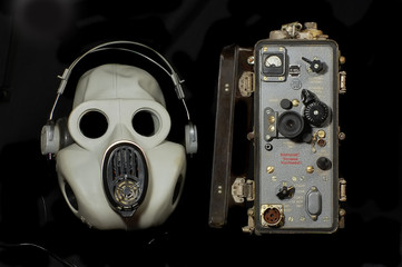 Old Soviet military radio and gas mask