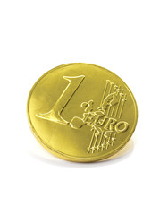gold coin one euro isolated on white