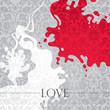 Conceptual love background with floral decoration.