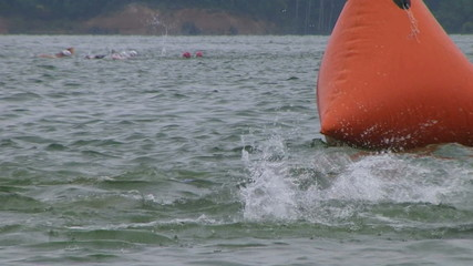 Swimmers Racing In Triathlon 05