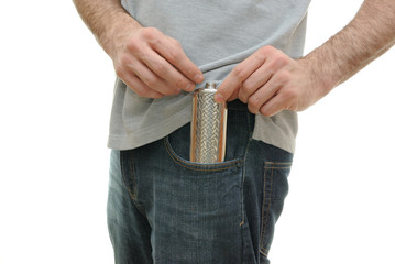 Flask in Guy's Pocket