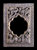 Silver frames in a Thai temple. Metal relief work pattern