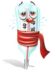 Termometro Febbre Cartoon-Cartoon Thermometer-Vector