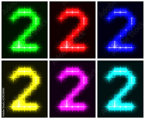 Set a glowing symbol of the number 2