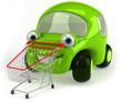 Voiture verte et shopping