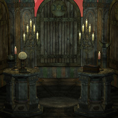 archaic altar or sanctum in a fantasy setting. 3D rendering of