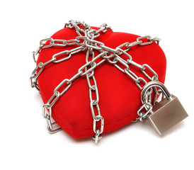 love locked heart shape with chains