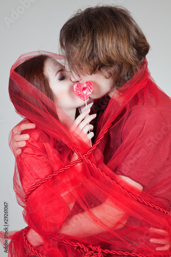 canvas print picture Kissing pair