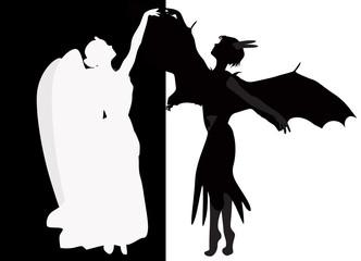 black devil and white angel