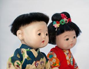 couple d'enfants japonais (poupées anciennes)
