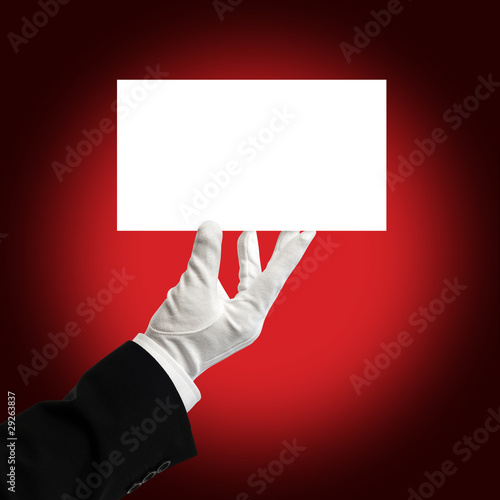 Waiter holding white card