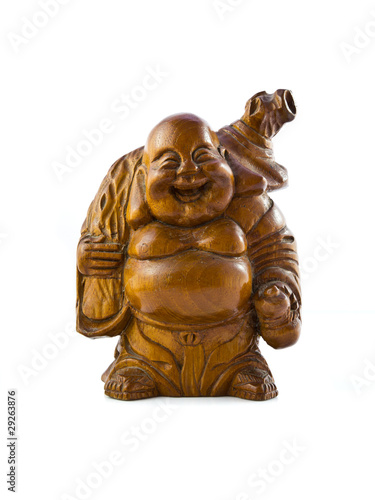 wood craft of old man smiling and carrying the gold bag