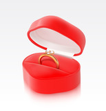 Gold ring in a heart shaped box