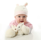 Fototapety Baby and bunnies
