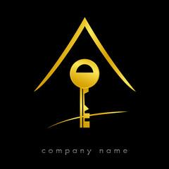 Logo clef maison sécurité Or
