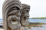 Tiki Statuen am Place of Refuge (Honaunau, Hawaii)