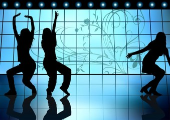 Dancing Girls - On a Blue Background, Colored illustration