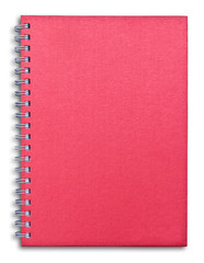 red notebook isolated on white background