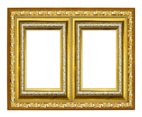 golden wood picture frame isolated on white background