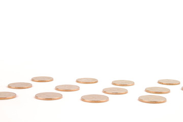 Gold Coins on White Background