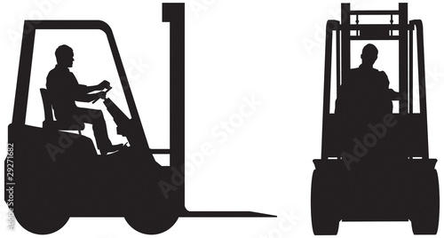 Forklift truck side and front silhouette
