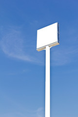 blank sign against blue sky, useful for advertise or logo