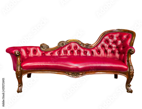 luxury red leather armchair isolated on white background
