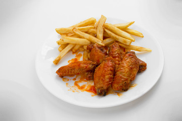 A Plate of Hot Wings and Fries