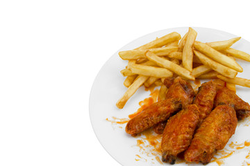 Hot Chicken Wings and Fries Isolated on White