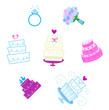 Wedding and Valentine's day desserts and accesories icons
