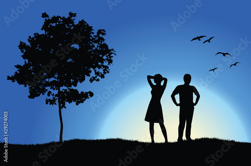 man and girl standing on hill near tree, blue background