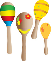 Four toy maracas in many colors