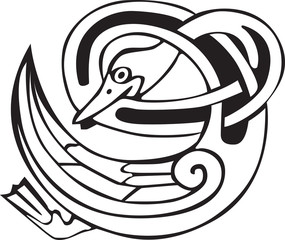 Tattoo design of a Celtic viking animal of a duck