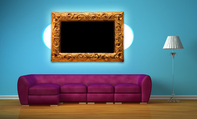 Purple sofa with oval bookshelf, standard lamp and frame