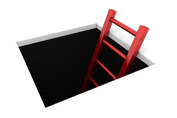 Climb out of the Hole - Shiny Red Ladder