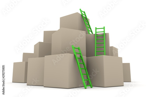 Batch of Boxes - Climb up with Glossy Green Ladders