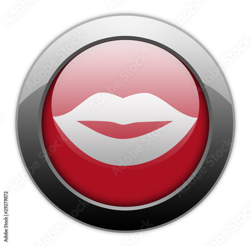 "Metallic Orb Button ""Mouth / Lips Symbol"""
