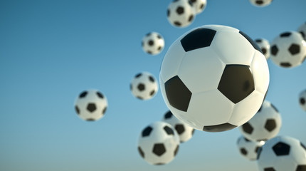Soccer balls in the sky. 3D render.