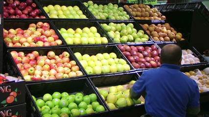 Man Facing Apples In Produce 03