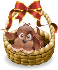 Cane Cucciolo in Cestino-Puppy Dog in Basket-Vector