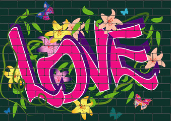 vector illustration with graffiti