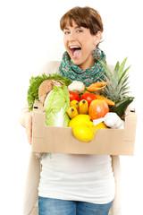 Junge attraktive frau beim einkauf Studentin Gemüse Obst