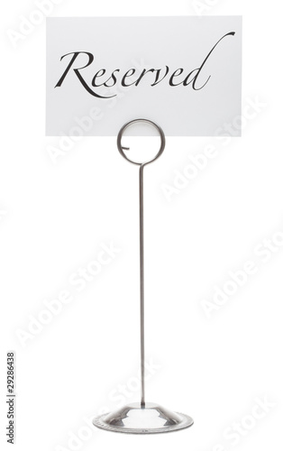 Reserved sign in stainless steel card holder stand