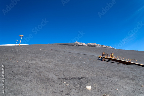 Skilift for skiers on the volcano Etna