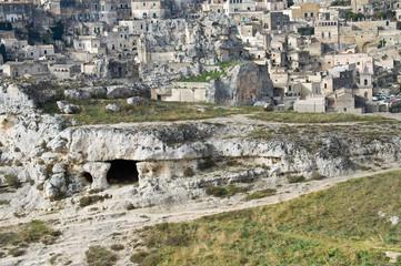 Palaeolithic cave. Matera. Basilicata.