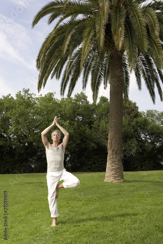 Middle-aged man doing tai chi in park