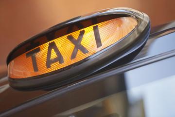 London taxi sign, close up