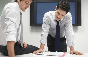Two Businessmen Looking in File Folder