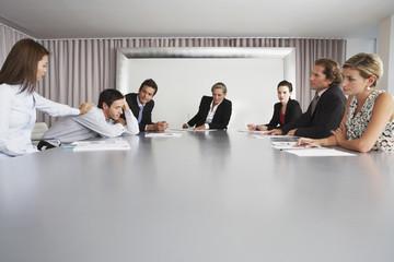 Businesswoman Waking Sleeping Colleague During Meeting